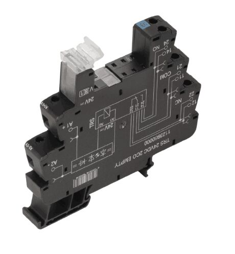 Weidmüller TRS 24VUC 2CO EMPTY 1123990000 TERMSERIES, Relay base, No. of contacts: 2 CO contact, Rated control voltage: 24 V UC ±10 %, Continuous current: 10 A, Screw connection